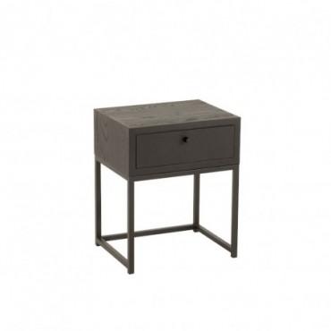 Table de chevet Tiroir Bois-Métal Noir