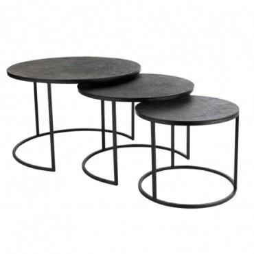 Tables Gigognes ronde Texture Jute Aluminium Noir