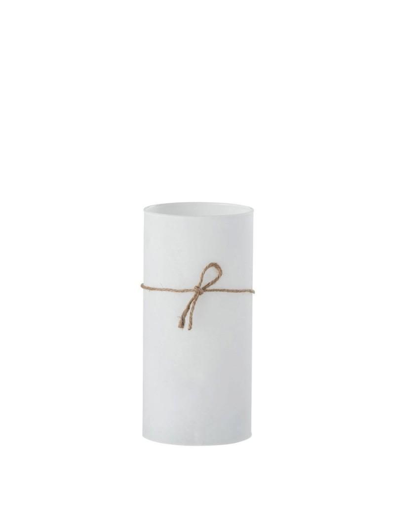 Photophore 3 Bougies Cylindrique Verre/Corde Blanc Large