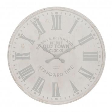 Horloge Ronde Bois Blanc Gris petit  J-line
