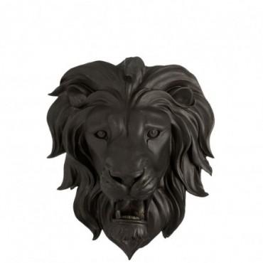 Tete de Lion Suspendue Résine Noire