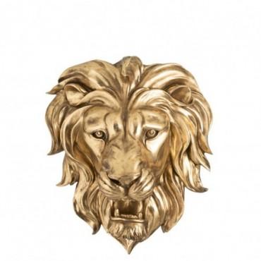 Tete de Lion Suspendue Résine Or