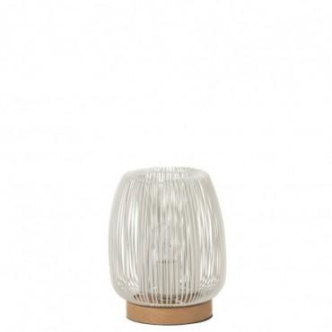 Lampe Doubles Lignes Metal Blanc