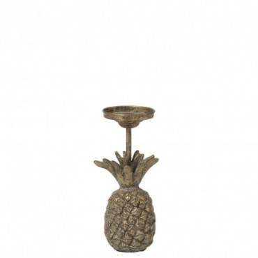 Bougeoir Ananas Metal Antique Or Small