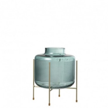 Vase + Pied Rond Verre/Metal Vert/Or L