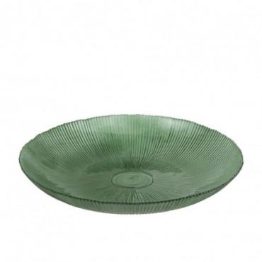 Plat Deco Rond Stries Verre Vert