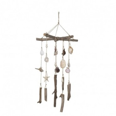 Carillon Coquillages Bois Flotte Naturel