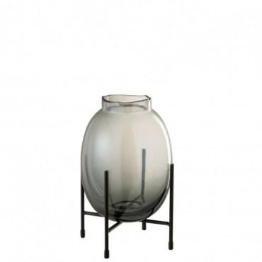Vase + Pied Bord Irrégulier Gris Bleu-Noir S