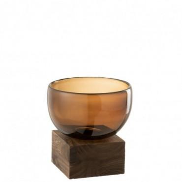 Vase + Pied L Verre-Bois Marron L