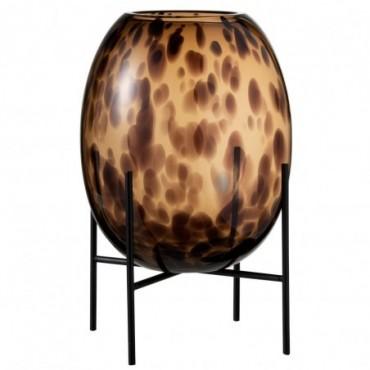Vase + Pied Tache décoratif Verre Transparent-Marron L