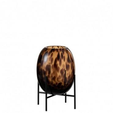 Vase + Pied Tache décoratif Verre Transparent-Marron S