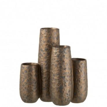 Vase 4 parties Tâches Rond Céramique Cuivre