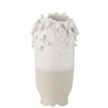 Vase Anemone Céramique Blanc-Beige L