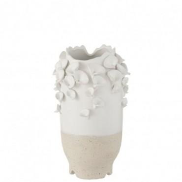 Vase Anemone Céramique Blanc-Beige S
