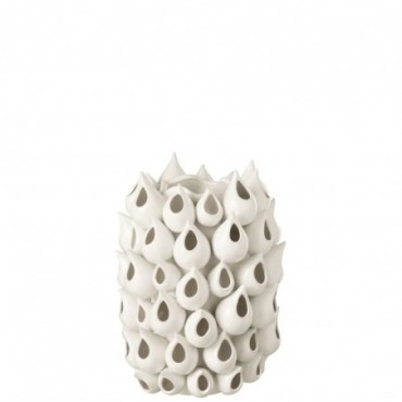 Vase Anemone Haut Céramique Blanc S