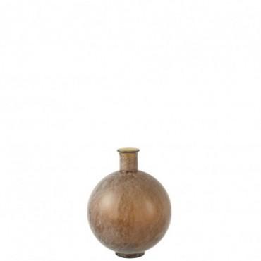 Vase Ball Glass Brown Wash