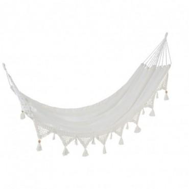 Hamac Pompons Coton Blanc
