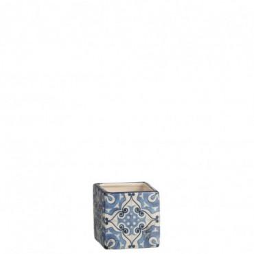 Cachepot Carre Mosaiques Dolomite Bleu Small