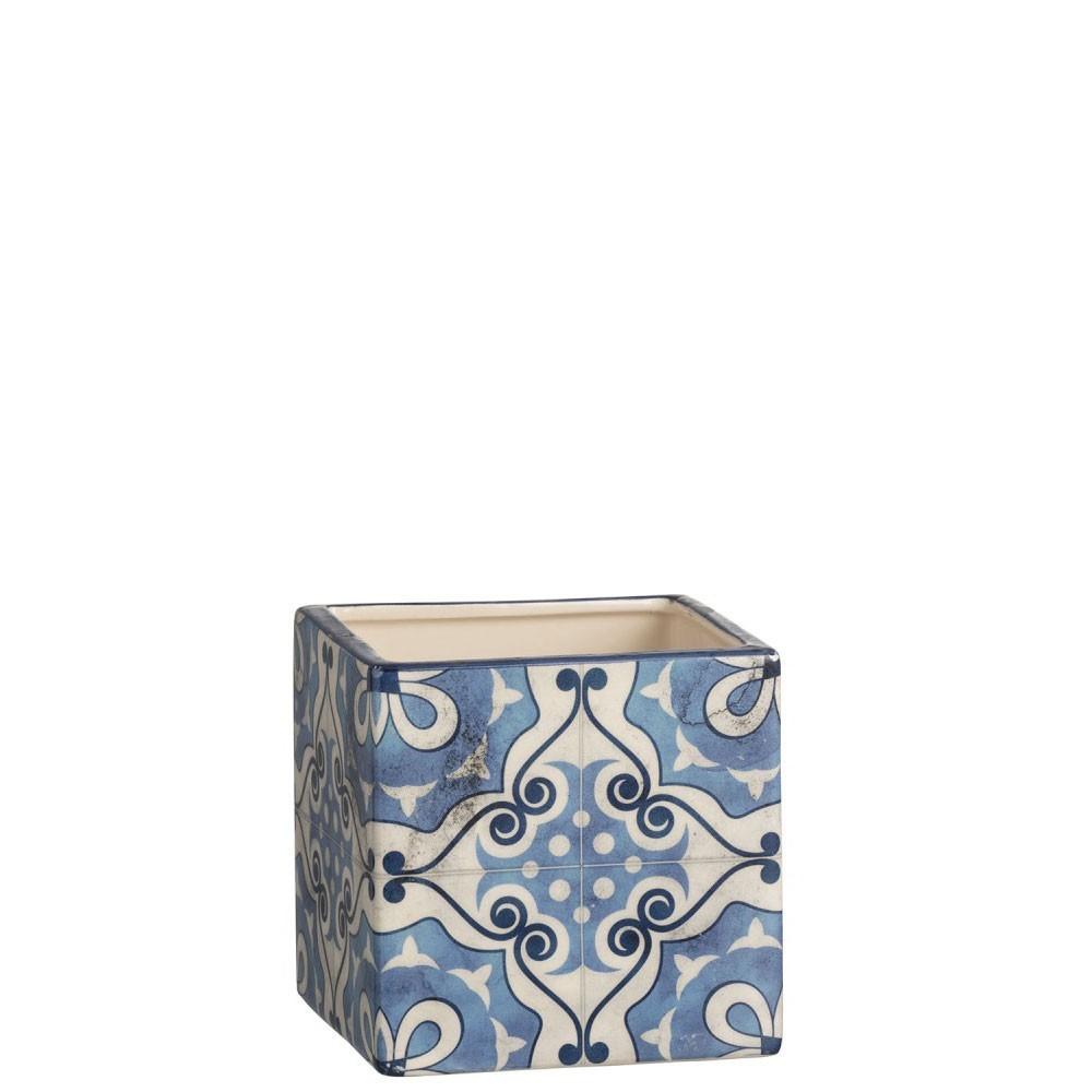Cachepot Carre Mosaiques Dolomite Bleu Large
