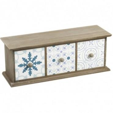 Petite étagère bleu 3 tiroirs