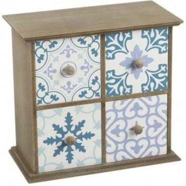 Petite étagère bleu 4 tiroirs