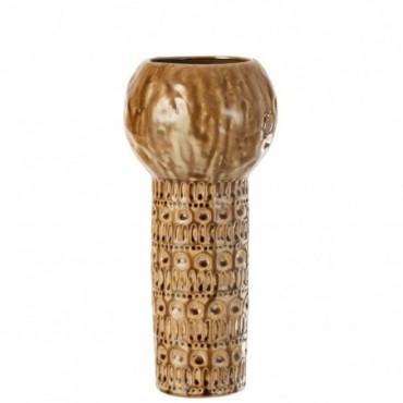Vase Vintage Rond Céramique Marron-Ocre L