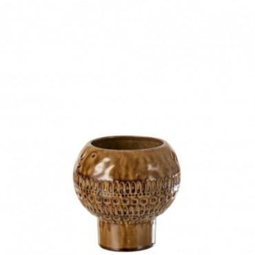 Vase Vintage Rond Céramique Marron-Ocre S