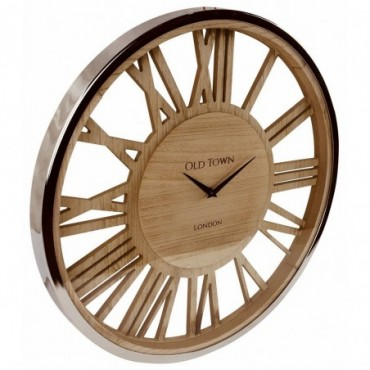 Horloge en bois avec couvercle en verre 48cm