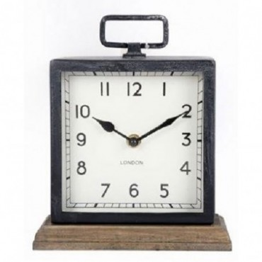 Horloge en métal avec base en bois
