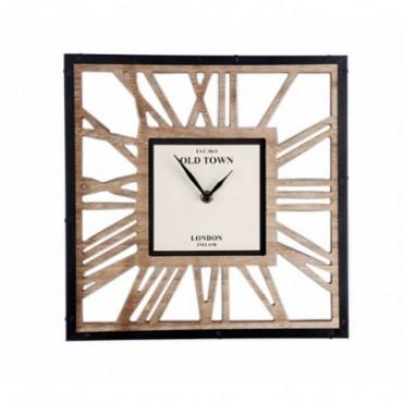 Horloge carré en bois style squelette 30cm