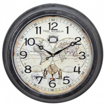 Horloge carte du monde vintage