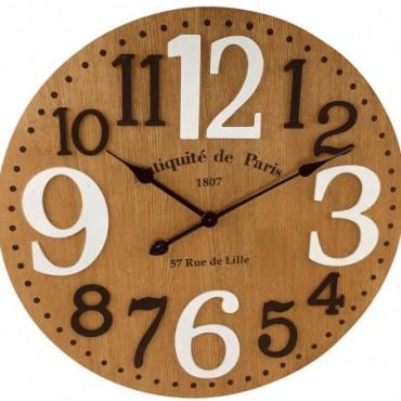 Horloge en bois chiffres en relief 60 cm