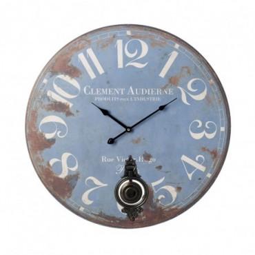 Horloge Bleu 58 cm effet vieilli