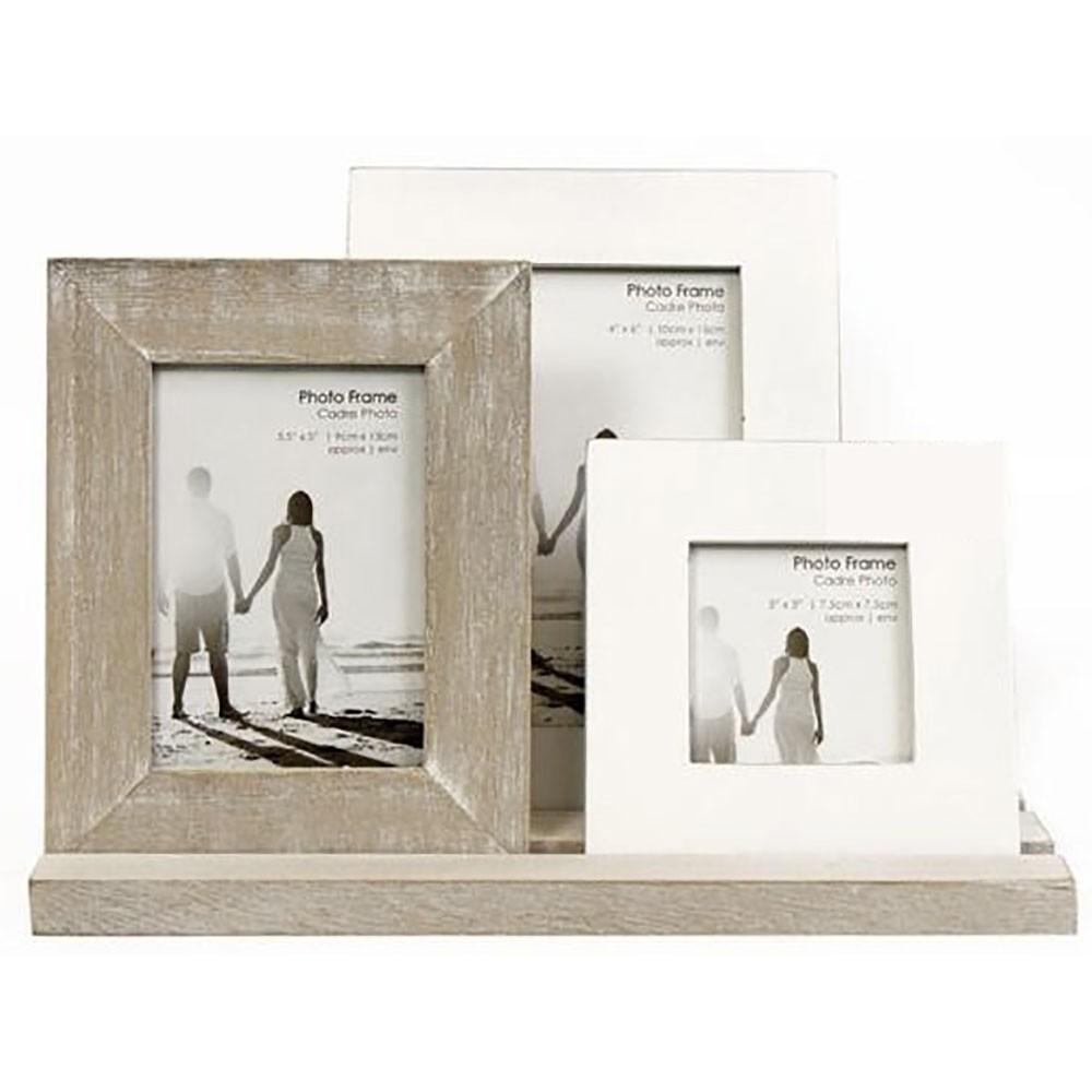 Ensemble de 3 cadres photo en bois rustique