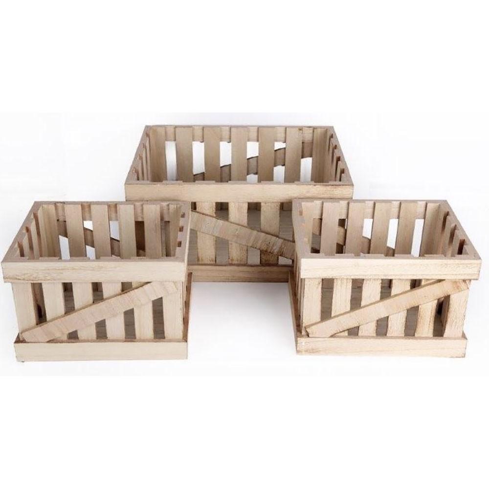 Lot de 3 caisses de stockage en bois