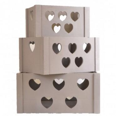 Lot de 3 caisses de stockage en bois de coeur