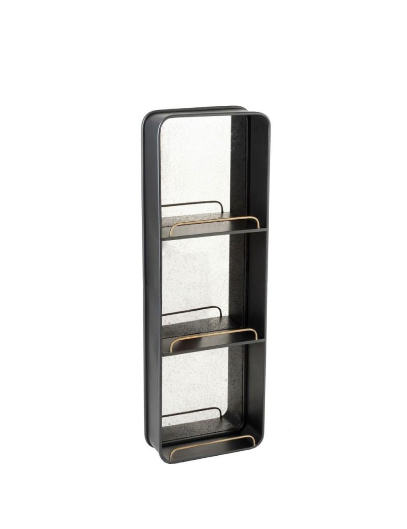 Etagere + Miroir Long Metal/Verre Noir