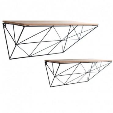 Ensemble de 2 étagères géométriques métal bois