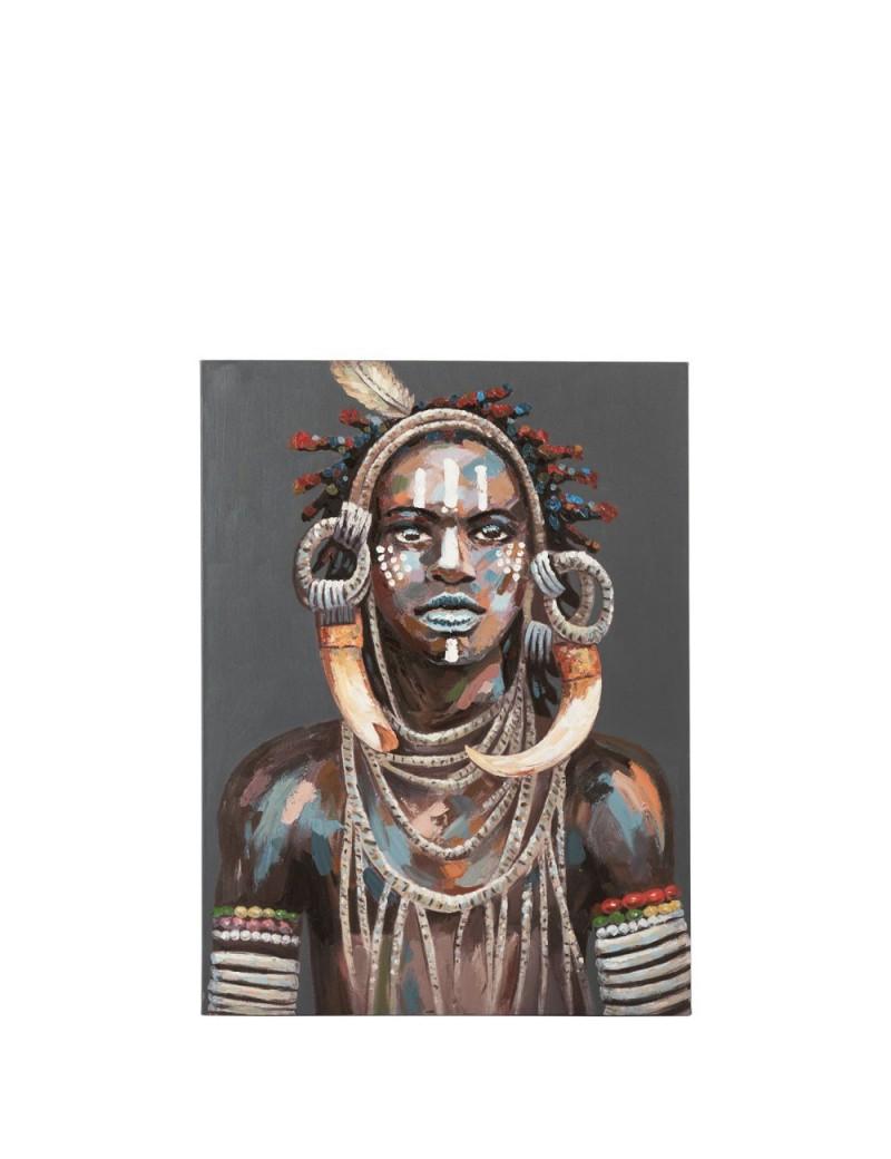 Peinture Homme Africain Tribal Canevas Mix