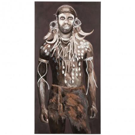 Peinture Homme Africain Tribal Canevas Marron/Blanc