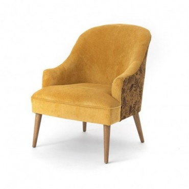 Fauteuil velours Mike Moutarde
