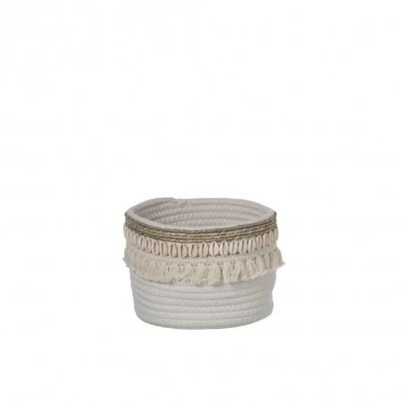 Panier Coquillage Jute Rotin Blanc