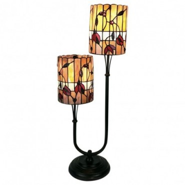 Lampe double tige Tiffany orange / rouge 67cm