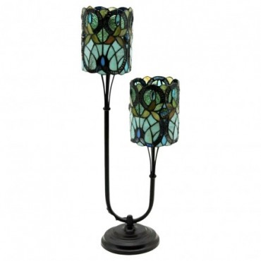 Lampe double tige Tiffany bleu / vert 72cm