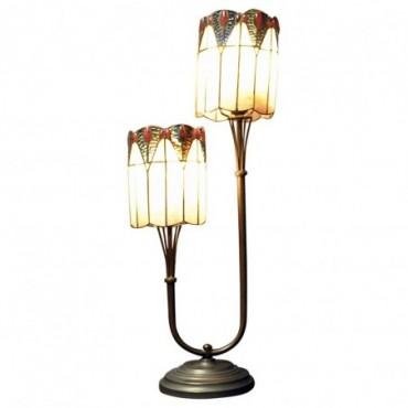 Lampe double tige Tiffany Bleu foncé / Rouge 67cm