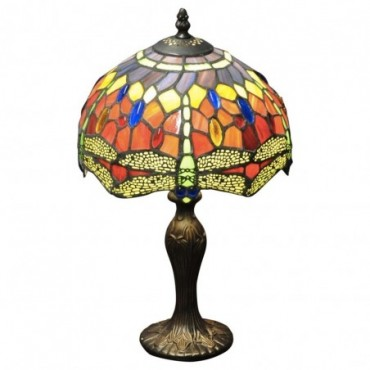 Lampe Tiffany Libellule rouge / orange