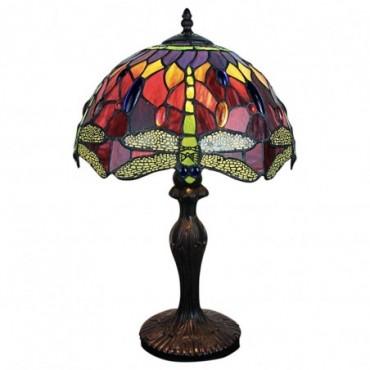 Lampe Tiffany Libellule vert / touche de rouge