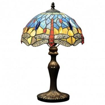 Lampe Tiffany Libellule bleu / Rouge