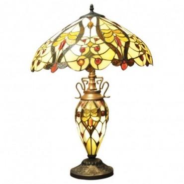 Lampe Tiffany 68cm Crème / balles rouges