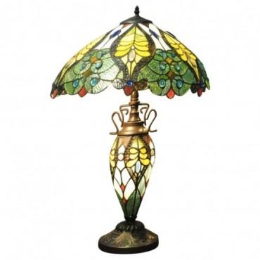 Lampe double Tiffany Vert et jaune